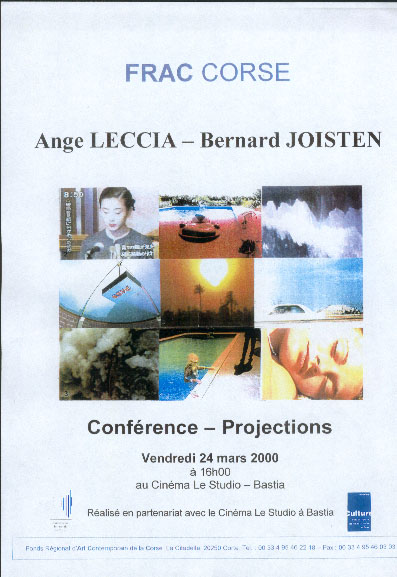 CONFERENCE - PROJECTIONS : ANGE LECCIA -BERNARD JOISTEN